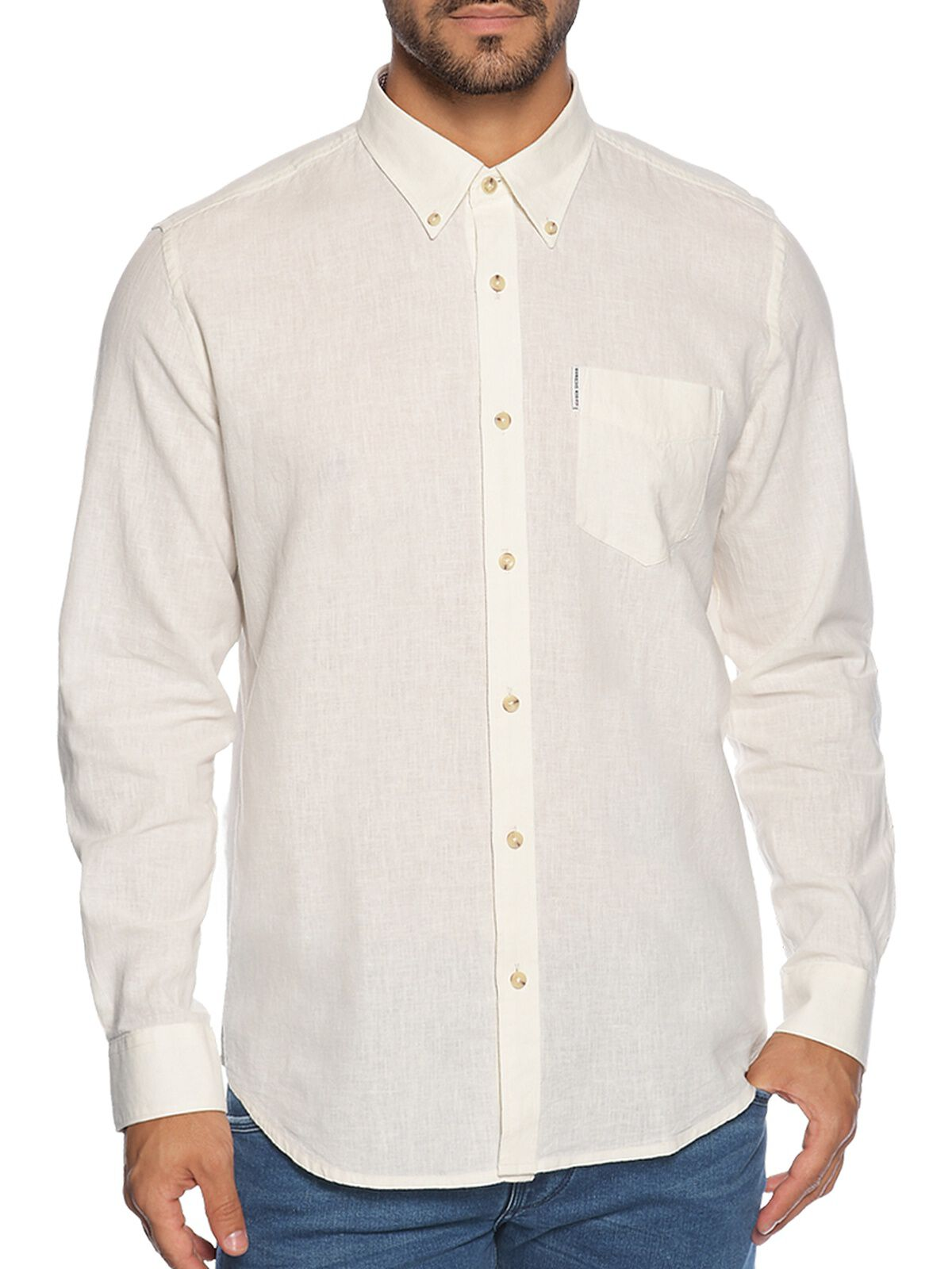 Camisa Regular Fit con lino